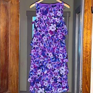 Chaps Womens Sz 10 Ruffled Asymmetric Flower Dress